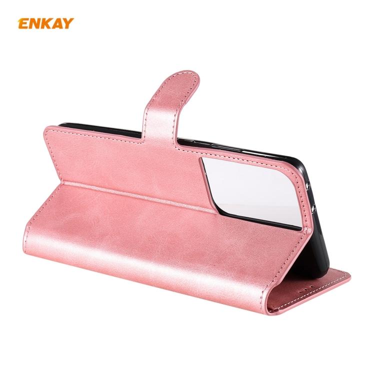 Розовый чехол-книжка со слотами ENKAY на Samsung Galaxy S21 Ultra