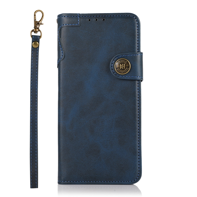 Синий кожаный чехол-книжка для Сяоми Редми Нот 10