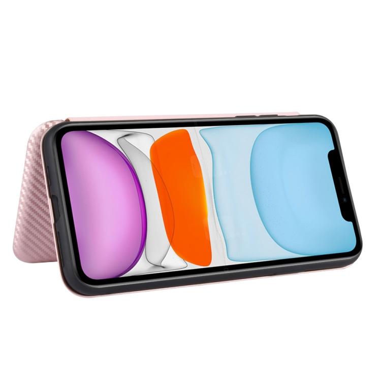 Чехол-книжка Carbon Fiber Texture на Айфон 12 Mini - розовый