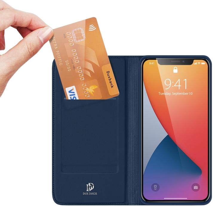Чехол-книжка со слотом для кредитки на Айфон 12 Про Макс - синий