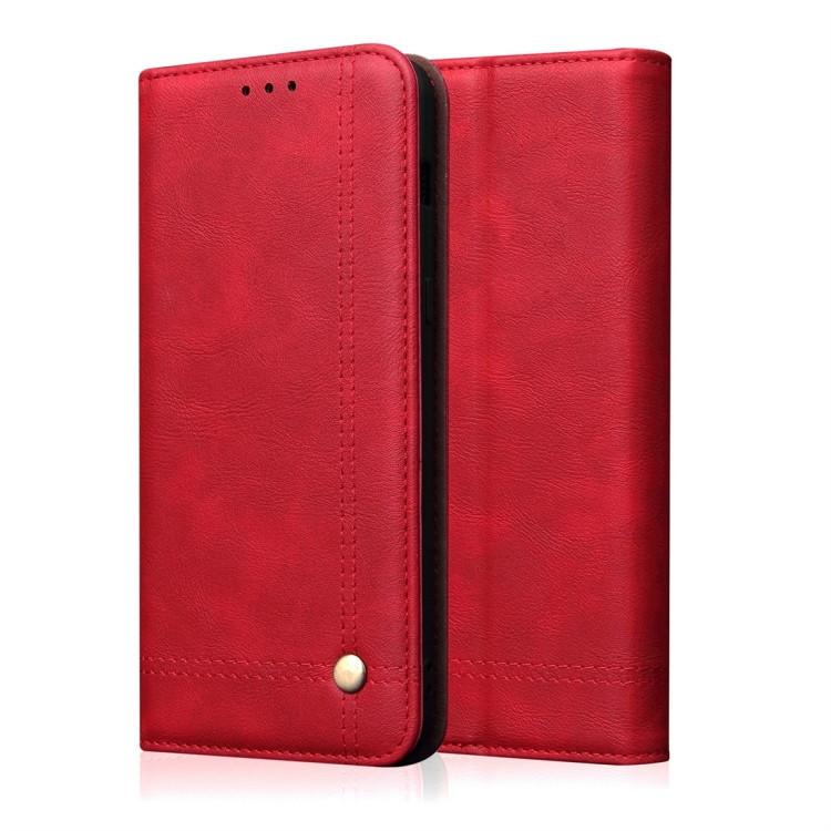 Кожаный чехол -книжка Retro Texture Wallet для iPhone 11 Pro Max- красный