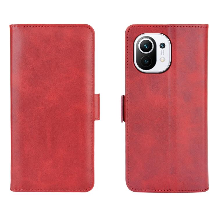 Кожаный чехол-книжка для Xiaomi Mi 11 красный