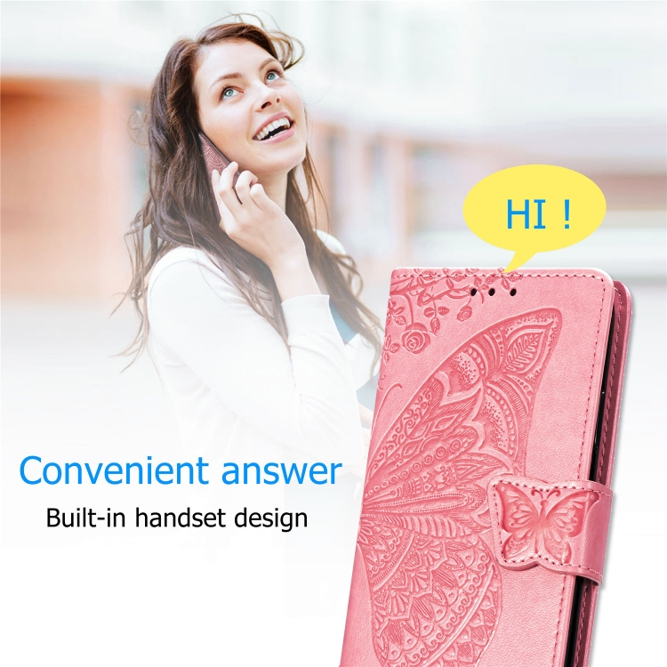 Чехол-книжка Butterfly Love Flower Embossed на iPhone SE 2 2020/7/8 - розовое золото