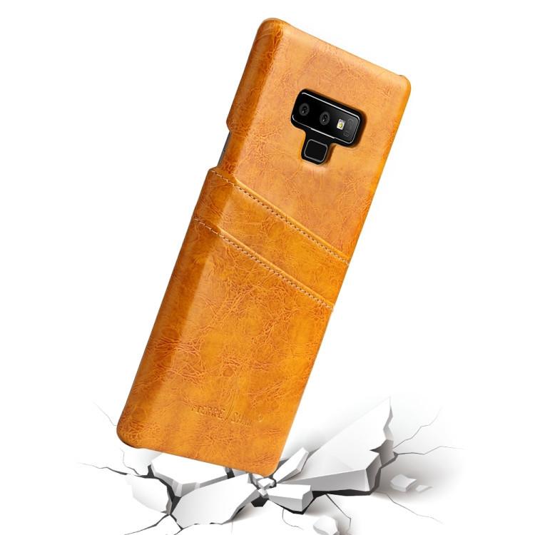 Кожаный чехол Fierre Shann Retro Oil Wax Texture на Samsung Galaxy Note9-желтый
