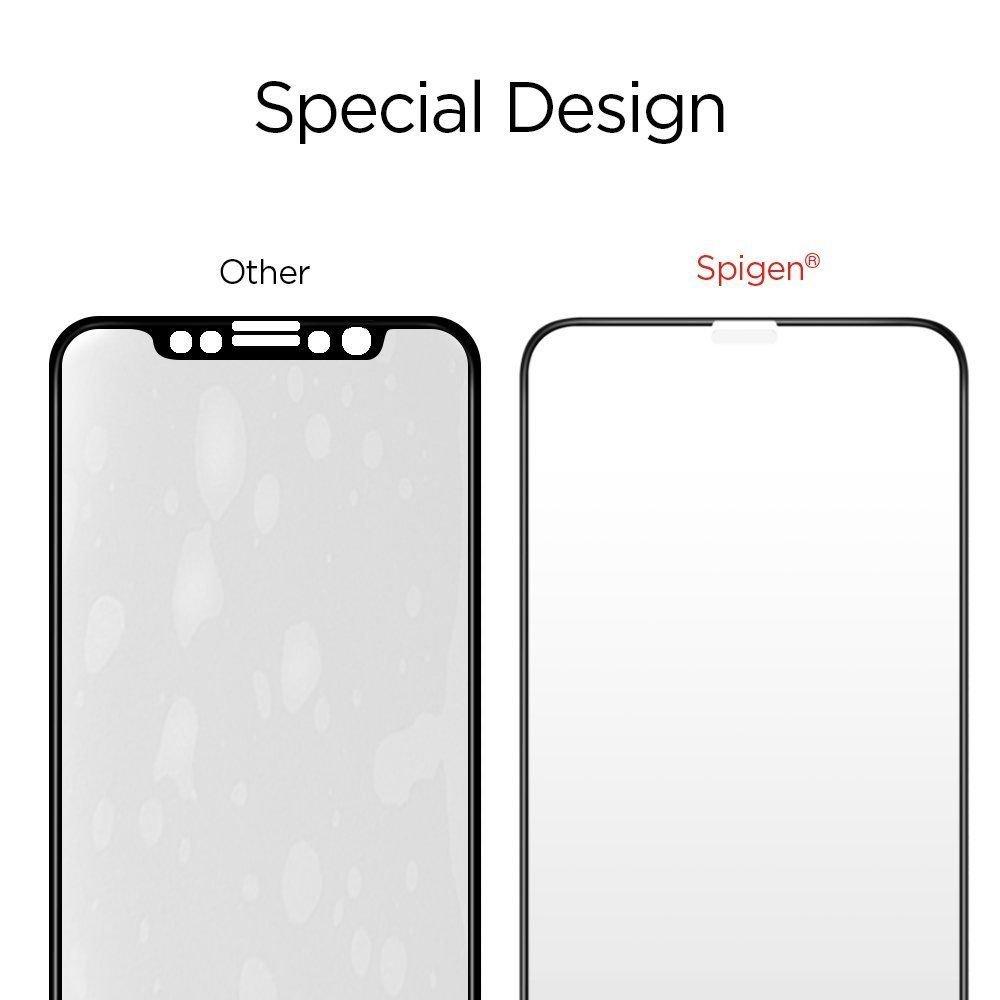 3d каленое защитное стекло Spigen Glass Fc для Айфон 11 Pro/X/Xs Black