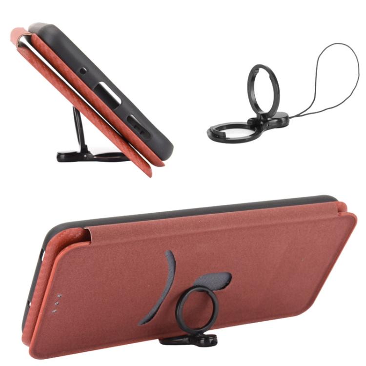 Чехол-книжка со слотом Carbon Fiber Brown  для Samsung Galaxy A52
