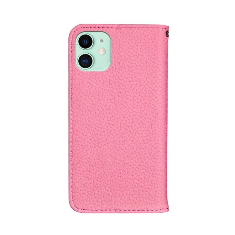 Чехол-книжка Litchi Texture Solid Color на iPhone 12/12 Pro - розовый
