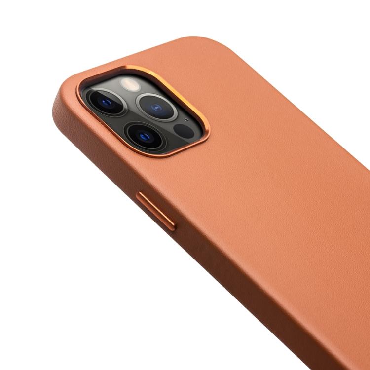 Кожаный чехол для Айфон 12 Про Макс - коричневый