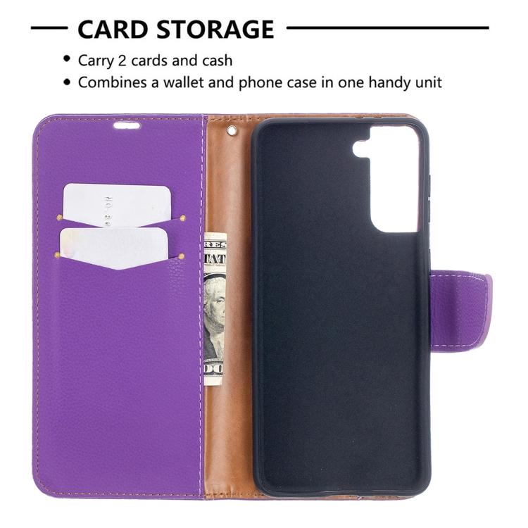 Чехол-книжка фиолетового цвета со слотами на Самсунг Галакси С21 Плюс