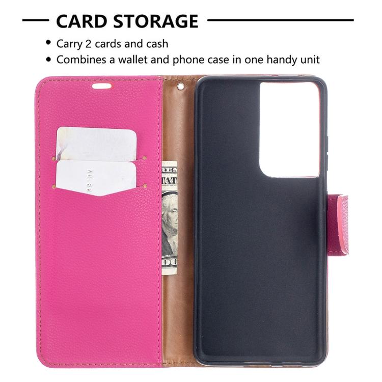 Пурпурно-красный чехол-книжка с карманами на Самсунг Галакси С21 Ультра
