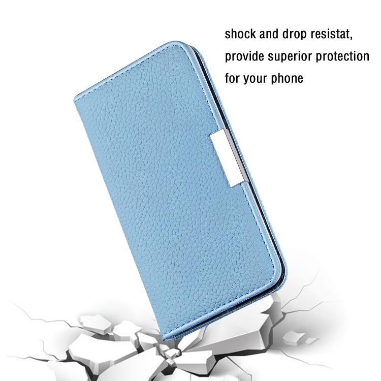 Синий чехол-книжка Litchi на iPhone 12 Pro Max