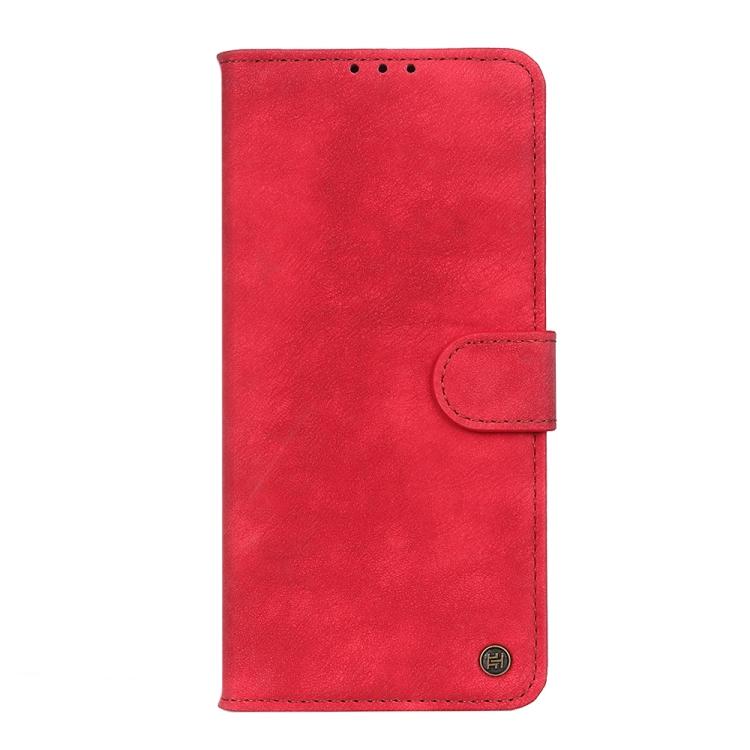 Красный кожаный чехол-книжка на Айфон 13 Про