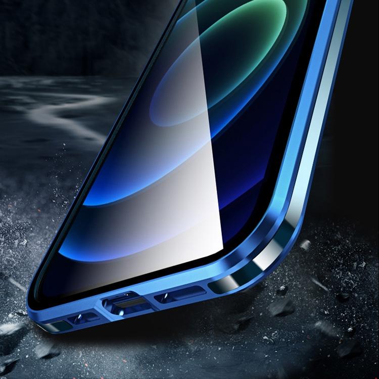Двухсторонний магнитный чехол Electroplating Frame для iPhone 12 Про Макс синий