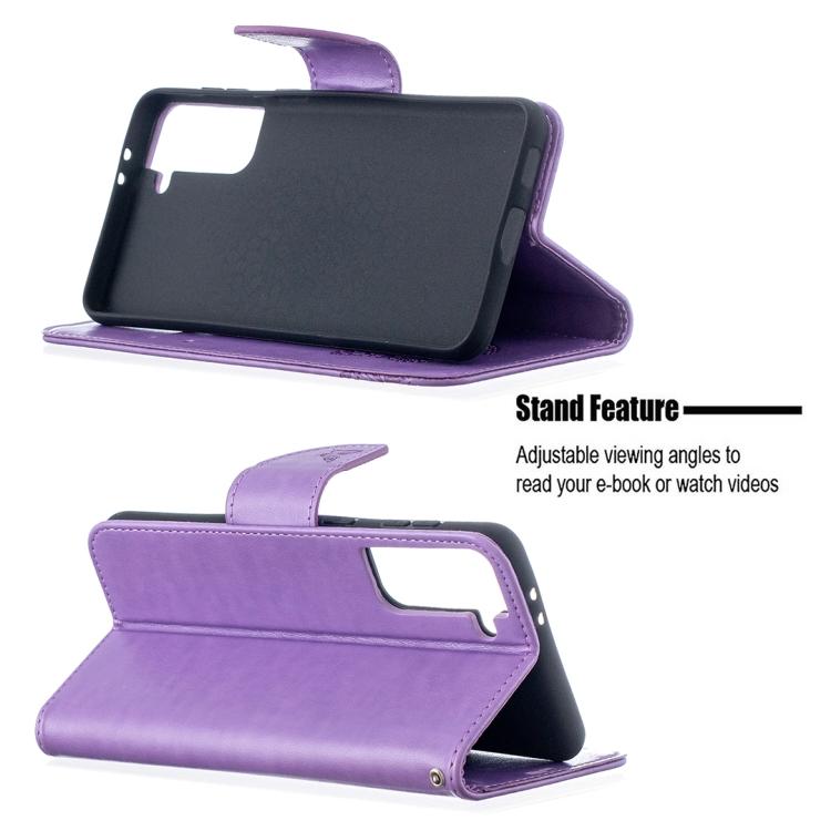 Фиолетовый чехол-книжка со слотами Butterflies Pattern для Samsung Galaxy S21 Plus