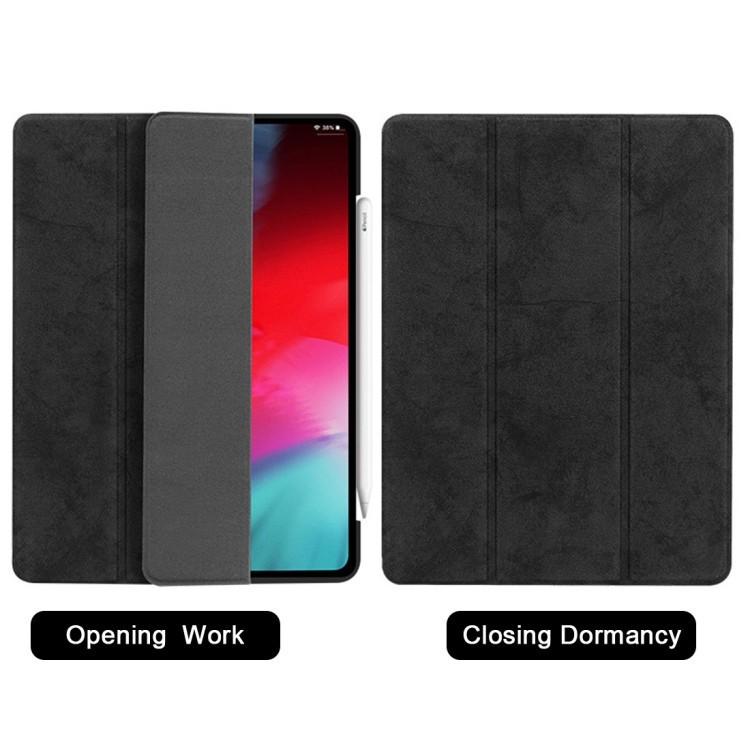 Чехол-книжка Three-folding Flip Magnetic Premium PU Leather  для iPad Pro 11 inch 2018-черный