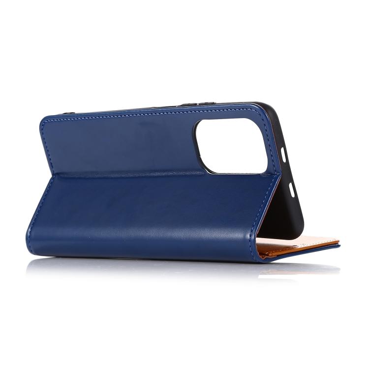 кожаный чехол-книжка на Xiaomi Redmi Note 10/Note10S - синий