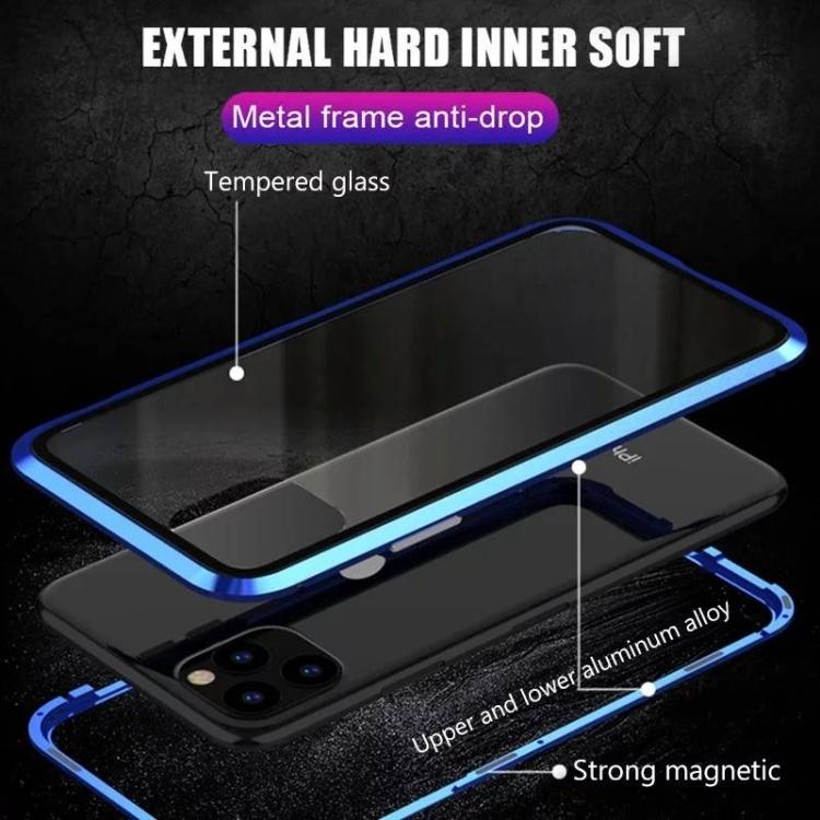 Двусторонний магнитный чехол на Айфон 11 - черный