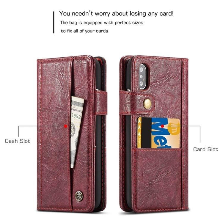 Кожаный чехол-книжка CaseMe 010 со слотами на Айфон Xs Макс - красный