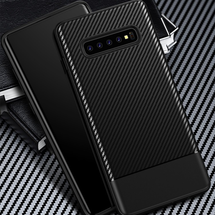 Карбоновый чехол Lewei Series на Samsung Galaxy S10 Plus-синий