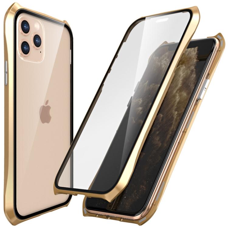 Двусторонний магнитный чехол Magnetic  Shell Series на Айфон 11 Про Макс - золотой