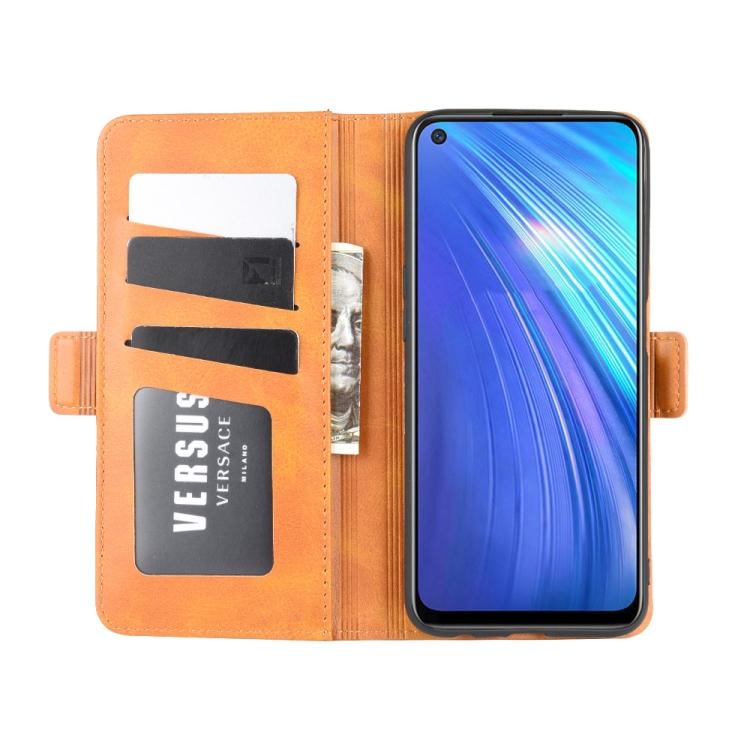 Чехол-книжка Dual-side Magnetic Buckle для Realme 6 - оранжевый
