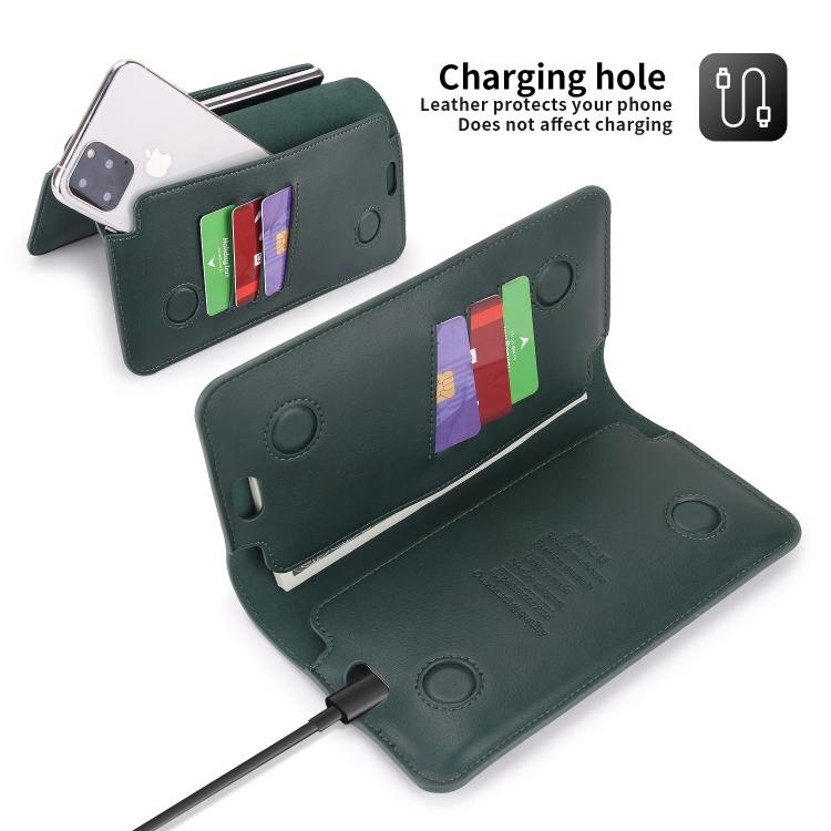 Кожаный универсальный чехол-кошелек для Айфон - зеленый