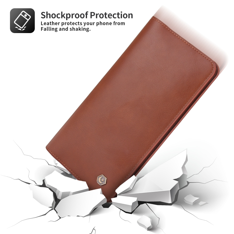 Кожаный универсальный чехол-кошелек POLA для Айфон - коричневый