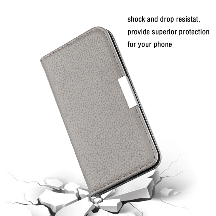 Серый чехол-книжка Litchi Texture на iPhone 12 Mini