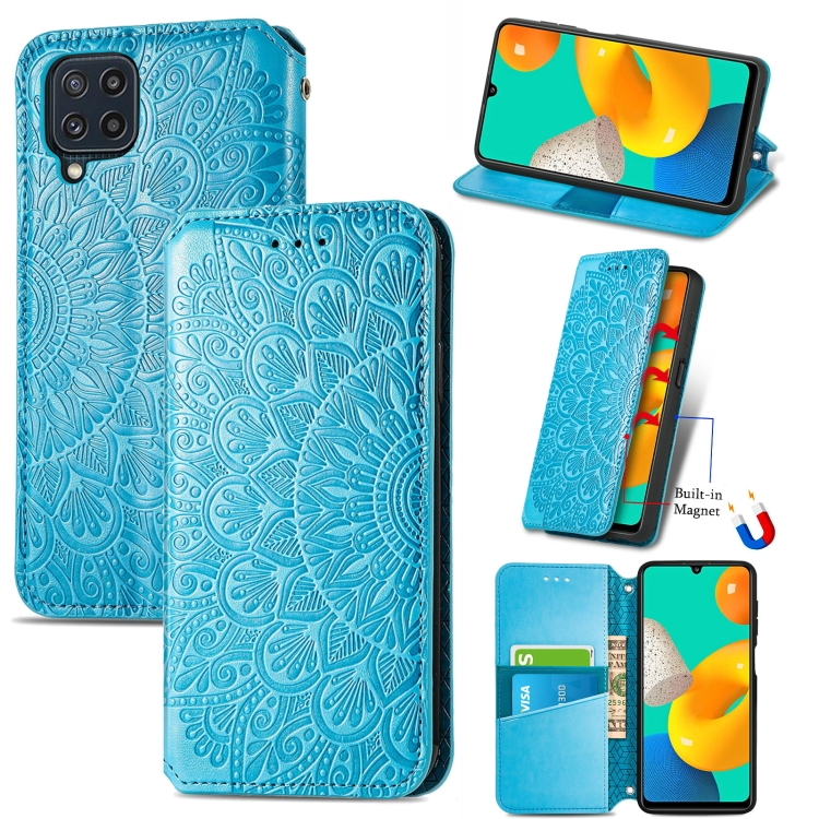 Чехол-книжка Blooming Mandala для Samsung Galaxy M32 - синий