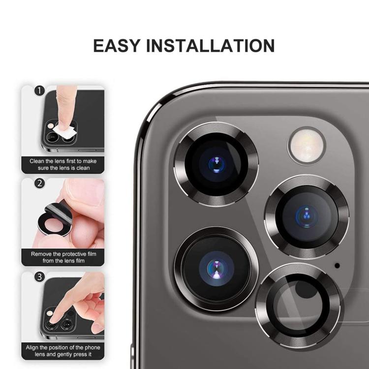 Защитное стекло на камеру для Айфон 12 Pro Max - черное