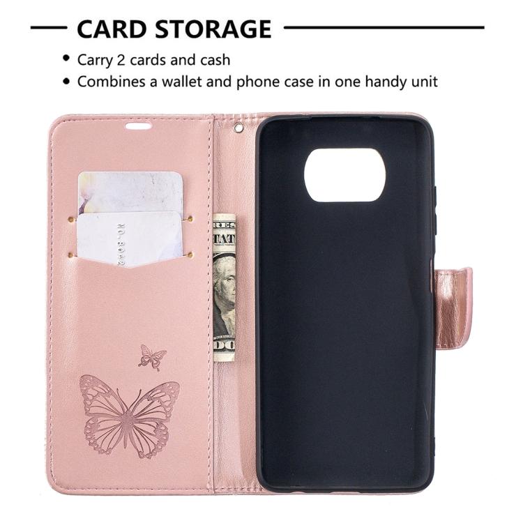 Чехол-книжка цвета розовое золото с карманами на Ксяоми Поко X3 Про