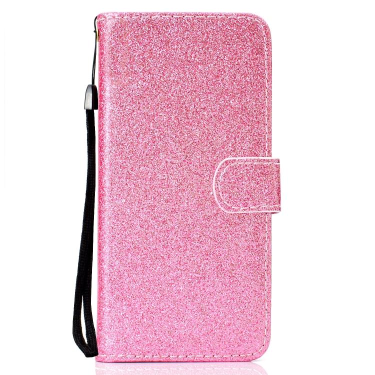 Чехол-книжка Glitter Powder на iPhone 12/12 Pro - розовый