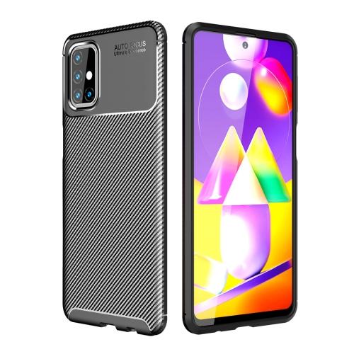 Ударозащитный чехол HMC Carbon Fiber Texture на Samsung Galaxy M31s - черный