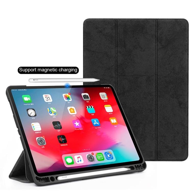 Чехол-книжка Three-folding Flip Magnetic Premium PU Leather на iPad Pro 11 inch 2018-черный