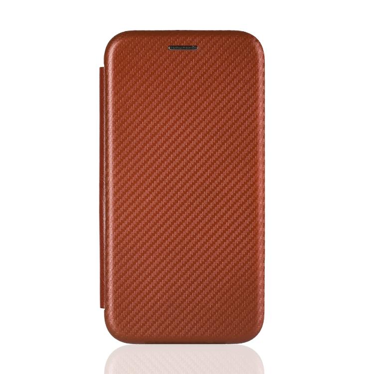 Чехол-книжка Carbon Fiber Texture на Xiaomi Mi 10T Lite - коричневый