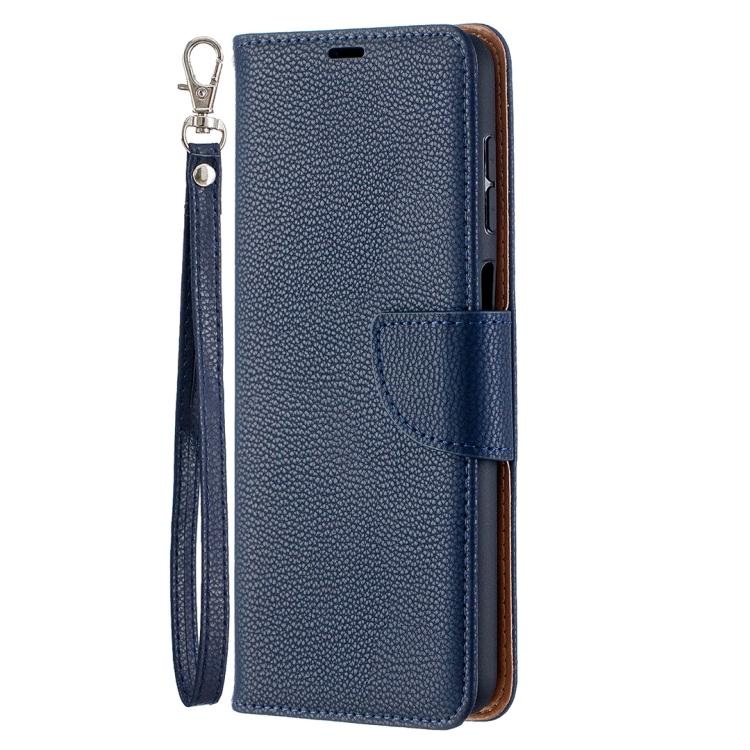Синий чехол-книжка Litchi Color на Samsung Galaxy A12/M12