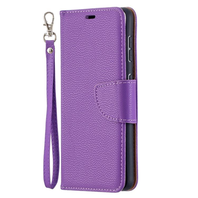 Фиолетовый чехол-книжка Litchi Color на Samsung S21