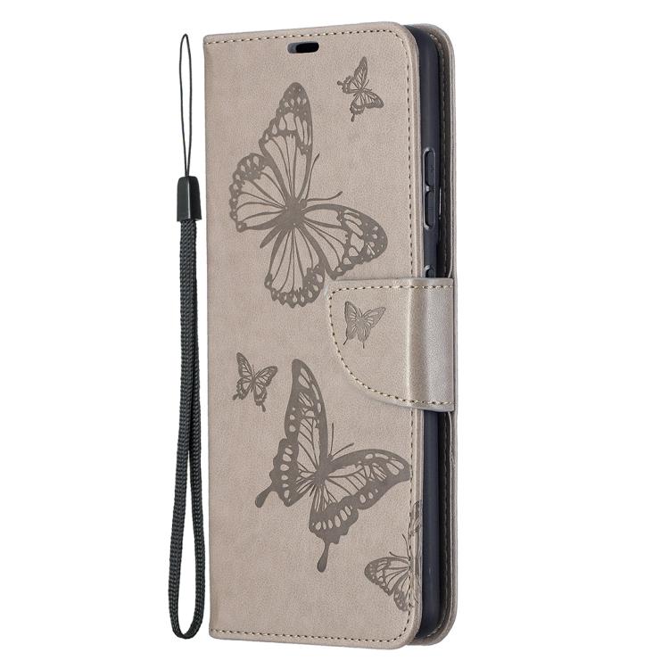 Серый чехол-книжка Butterflies на Samsung Galaxy S21 Ultra