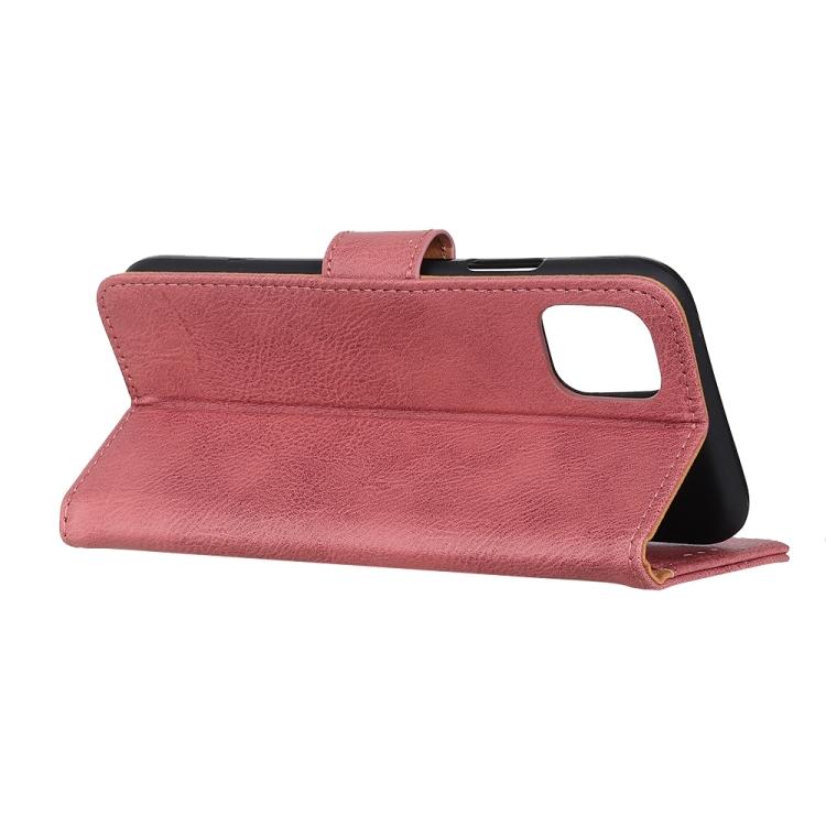Кожаный розовый чехол с складной подставкой на Айфон 12 Мини