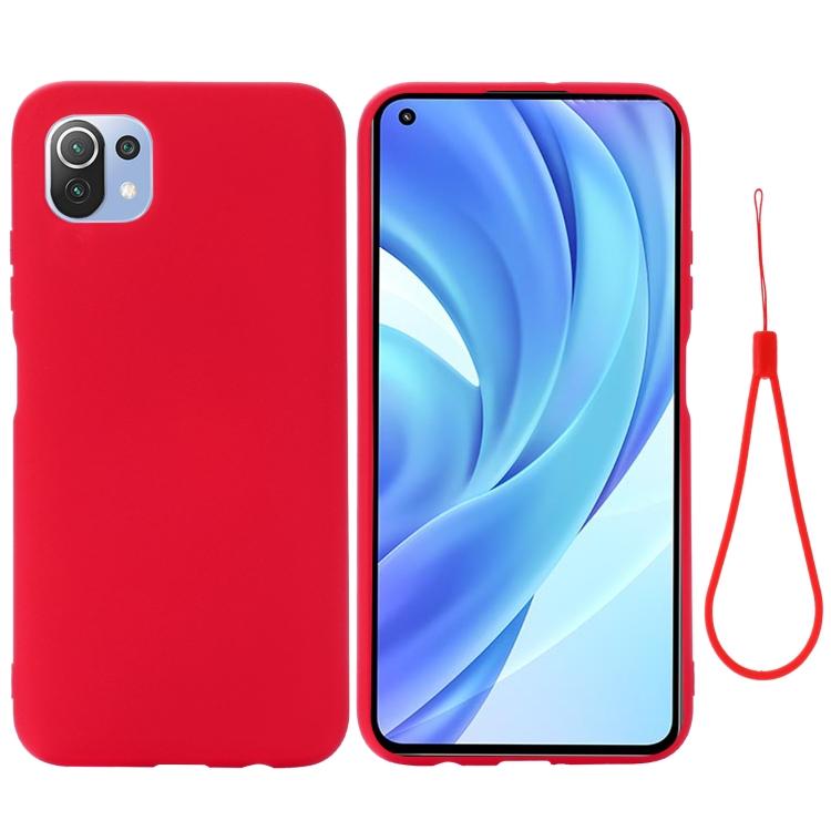 Силиконовый чехол Solid Color Liquid Silicone на Xiaomi Mi 11 Lite - красный