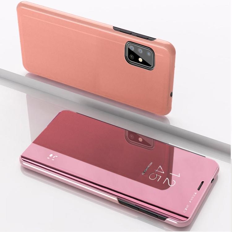 Чехол книжка Clear View на Samsung Galaxy A51 - розовое золото