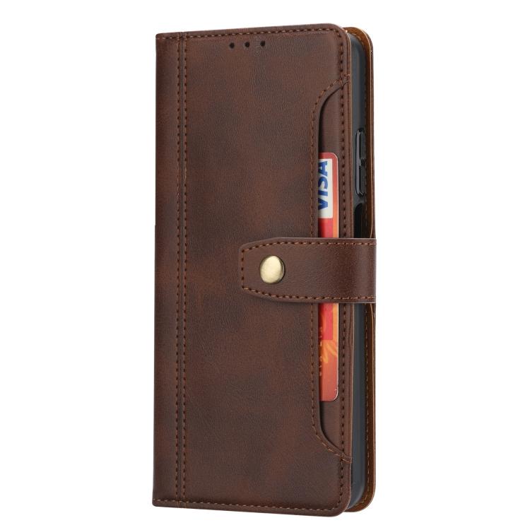 Кожаный ударостойкий чехол-книжка коричневого цвета для Сяоми Ми 10Т
