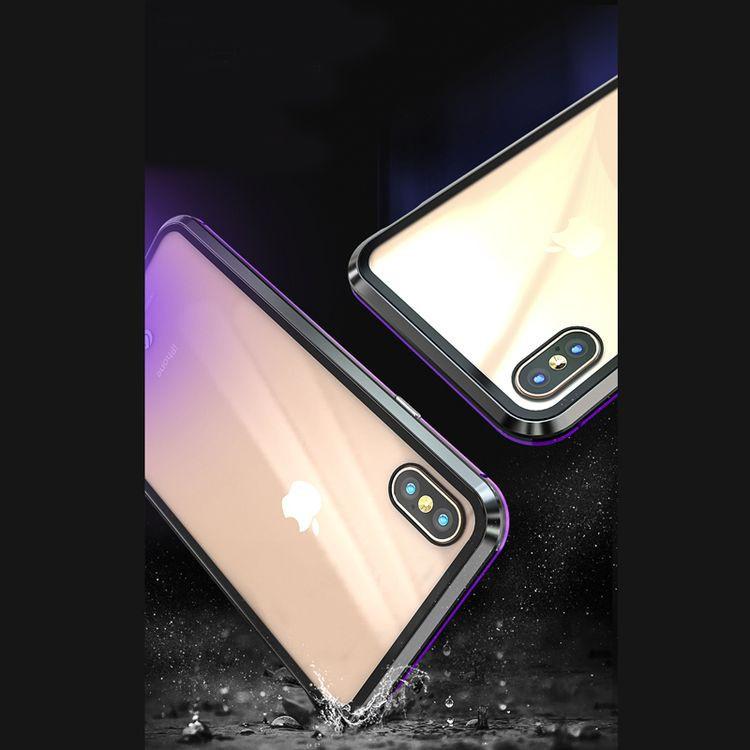 Прозрачный магнитный чехол с двух частей на  Айфон XR стеклянный c черными вставками