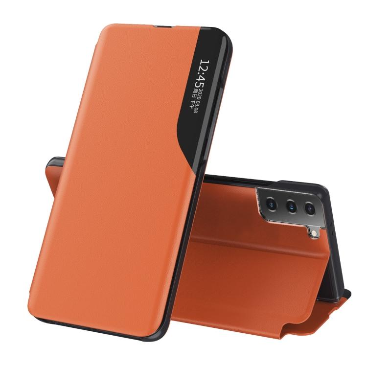 Чехол-книжка Clear View Standing Cover на Samsung Galaxy S21 FE - оранжевый