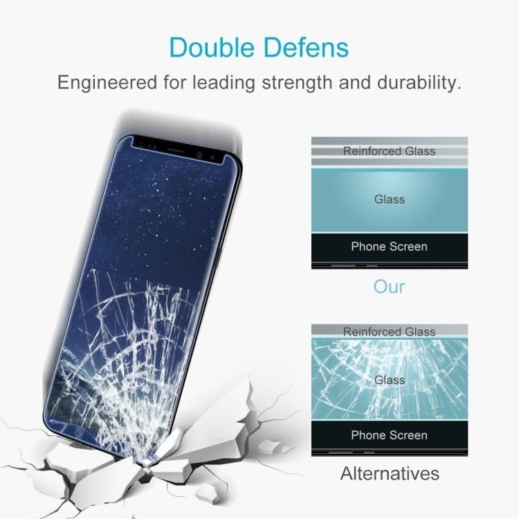 Защитное 3D Стекло 0.26 mm 9H изогнутые края подходит ко всем чехлам для Самсунг С8-синее