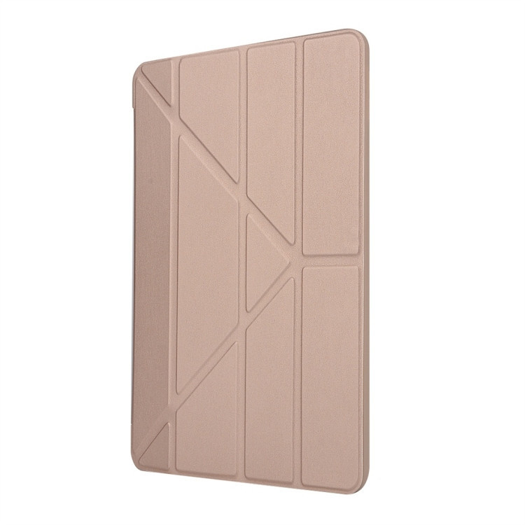 Чехол-книжка Solid Color Trid-fold Deformation Stand на iPad 8/7 10.2 (2019/2020) -золотой