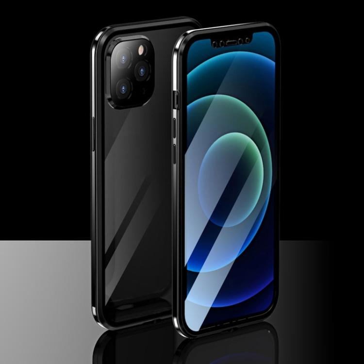 Двухсторонний магнитный чехол накладка черного цвета для Айфон 12 Про Макс