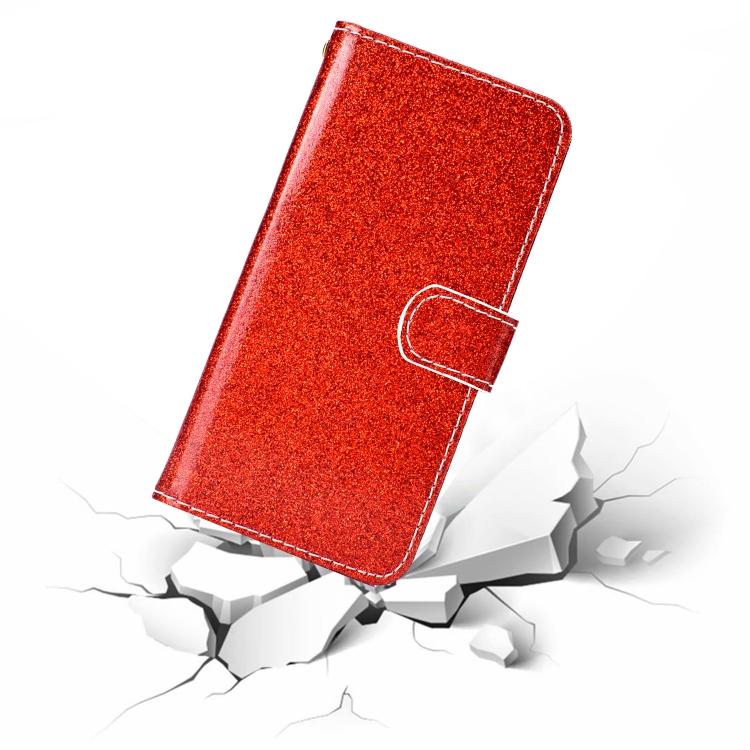 Чехол-книжка Glitter Powder на Айфон 12/12 Про - красный