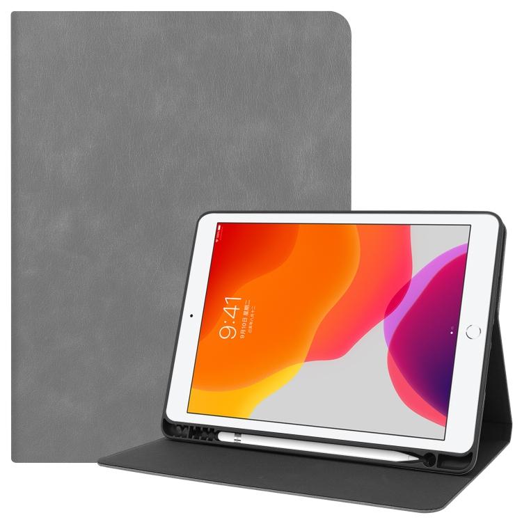 Кожаный чехол Cowhide Texture на iPad 10.2 с держателем для стилуса  - серый