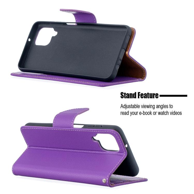 Чехол-книжка фиолетового цвета с подставкой на Самсунг A12/M12